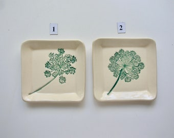 Ceramic Square Plate/Coaster, Your Choice of Handmade and Hand Painted Queen Anne's Lace
