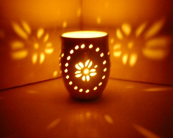 Ceramic Candle Holder/Luminary, Wheel Thrown, Hand Carved Sand Dollars