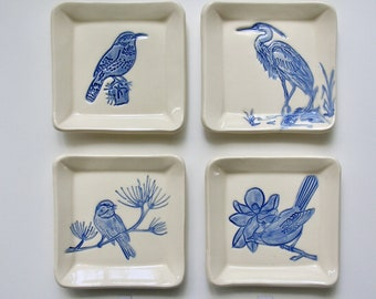 Ceramic Square Plate/Coaster, Your Choice of Handmade and Hand Painted Variety of Birds, Free Shipping