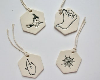 Ceramic Ornaments/Tag,  Set of Four Halloween Ornaments, Free Shipping