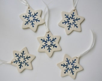 Ceramic Christmas Ornaments, Holiday Ornaments, Snow Star, Handmade and Hand Painted Porcelain, Your Choice