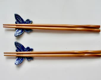 Ceramic ChopStick/ Pen Rests with chopsticks, Set of Two Hand Made Chopstick rests, Blue Butterfly, Free Shipping