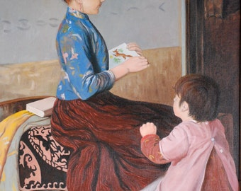 Reading to Little Sister, Print of my Original Oil Painting, 8 inch x 10 inch in a 11 x 14 Mat, Free Shipping