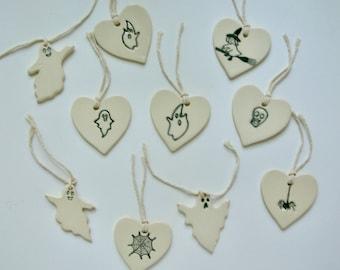 Ceramic Ornaments/Tag,  Set of Five Halloween Ornaments,  Choose any Five Ornaments