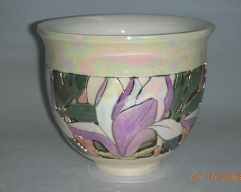 Magnolia Double Wall Bowl, One of a Kind, wheel thrown Ceramic Bowl