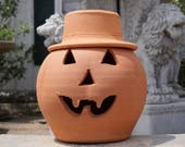 2 Gallon Terra Cotta Jack-o'-lantern Pumpkin with Hat from Craven Pottery