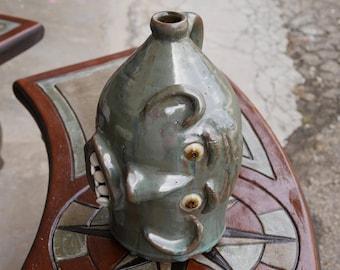 Craven Pottery Large Green Sideways Face Jug by Billy Joe Craven