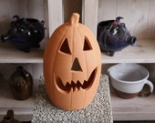 Tall Terra Cotta Jack-o'-lantern Pumpkin from Craven Pottery