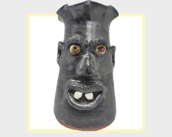 Metallic Dark Blue Gray Glazed Face Jug Vase by Billy Joe Craven