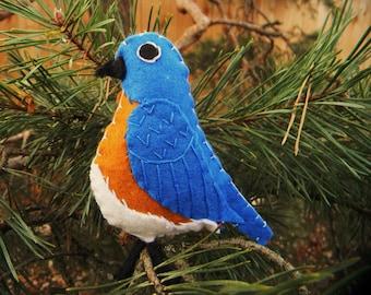 Eastern Bluebird  Felt Bird Ornament,embroidered, Home Decor
