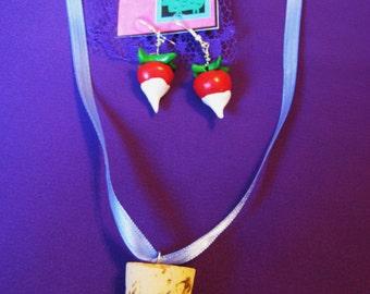 Lovegood Radish Earrings and Cork necklace