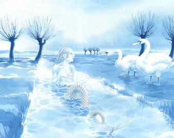 Rhyne Maiden and Swans - art print by Nancy Farmer