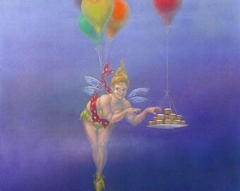 """SALE! - art print - """"Fairycakes I"""" - fat fairy, curvy fairy, from a painting by Nancy Farmer."""