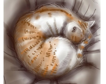 sleeping cat card: 'The Cat-ball' - art card, greetings, thank you card, birthday, Valentine. blank inside