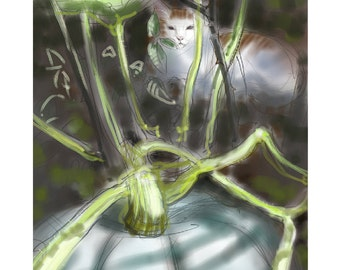 "Greetings card: ""Guardian of the Pumpkin"" - cat and blue pumpkin, cat in the veg garden - blank inside"