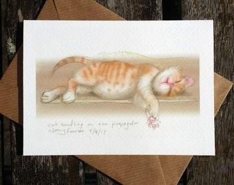 Fat kitten greetings card: 'Cat Seedling' - cute kitten art card, blank inside. Drawing by Nancy Farmer