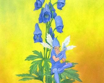 "Flower Fairy print from The Poison Flower Fairies - ""Aconitum Napellus or the Monkshood Fairy"" - sinister fantasy art print by Nancy Farmer"