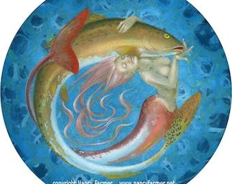 Fiishwife - circular mermaid print -  12 inch diameter signed giclee print
