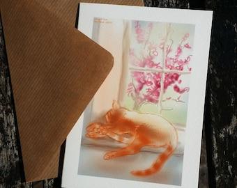 greetings card: 'Orange and Pink' - art card, cat & kitten