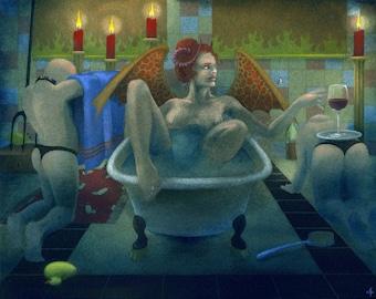 Bathtime - art print in a choice of sizes - fetish, erotic, goth - by Nancy Farmer