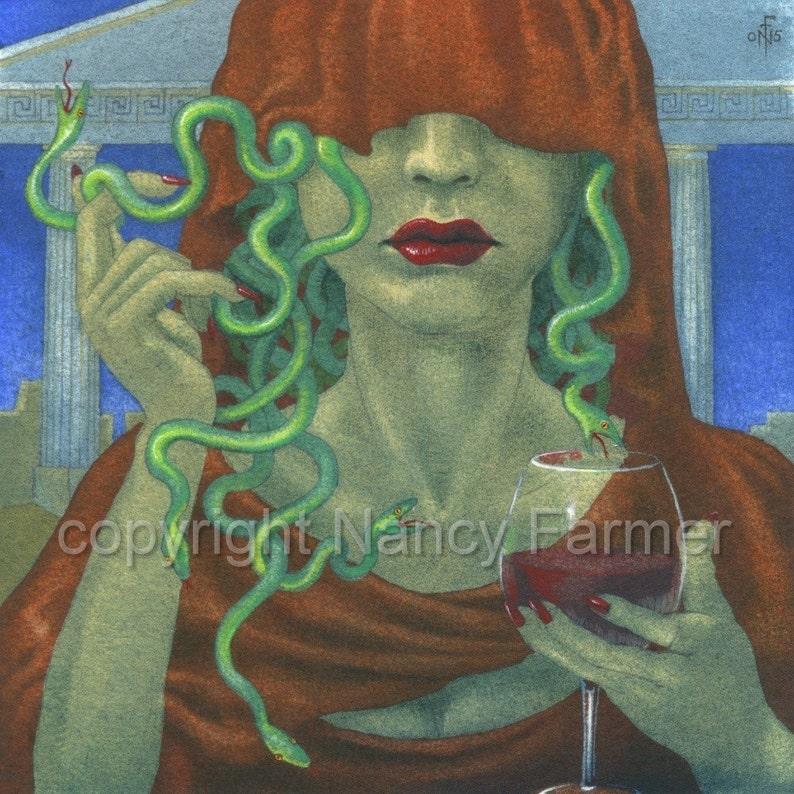 Medusa Veiled  art print  portrait of the classic Femme image 0