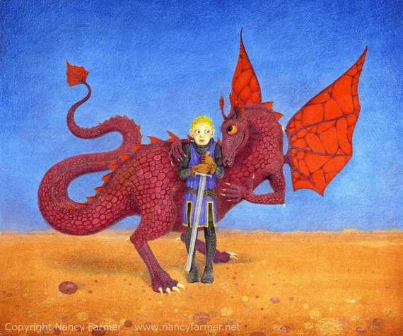 Dragon Picture The Amorous Dragon Fantasy Art Print Of A Boy St George And An Affectionate Lady Dragon In Love Nancy Farmer Art