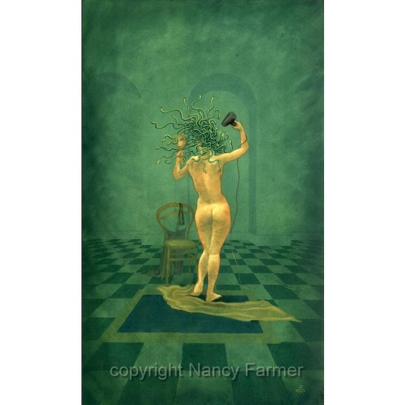 Medusa and the Hairdryer  art print by Nancy Farmer image 0