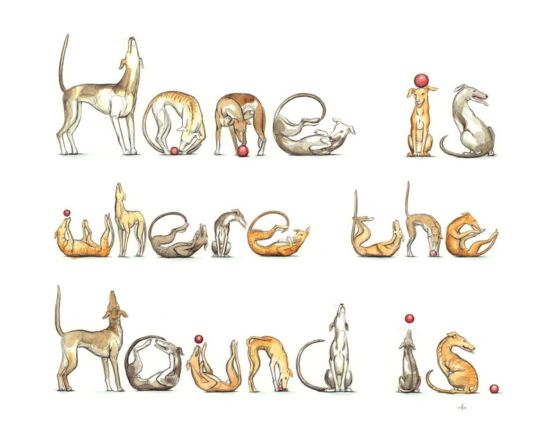 Spelling Animals print: Home is where the Hound is image 0