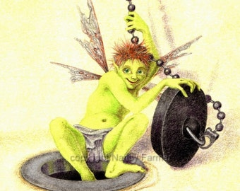 The Plughole Fairy - the ideal bathroom companion - art print in a choice of two sizes