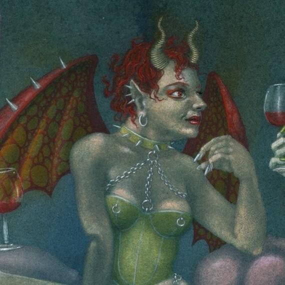Fantasy Fetish Art Print Painted Devils Dark Sinister Funny Picture By Nancy Farmer Uk Artist Dominatrix She Devils In Hell