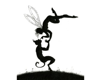 Two's Company - Fairy & Pan - signed art print
