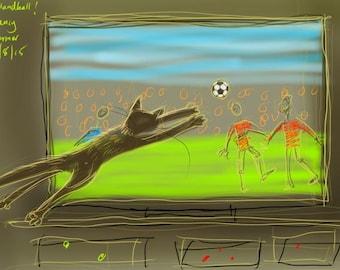 greetings card: 'Handball!', kitten and football match