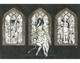 """Art print - """"The Marriage of Heaven and Hell"""" - drawing of angel & devil kissing outside a church. Love, religion, inspired by William Blake"""