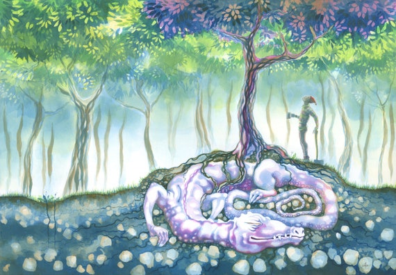 Fantasy Art Sleeping Under Tree