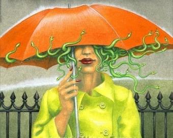 "Art print - ""Medusa in England"" - by Nancy Farmer. Medusa under an umbrella in the rain, just snakes & lipstick. Fantasy."