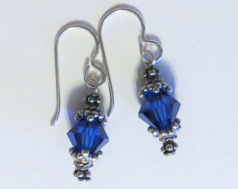 Fair Trade Swarovski crystal and Bali sterling silver small dangle earrings - many colors available!