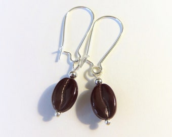 Dark brown glossy coffee bean dangle earrings with silver plated long ear wires
