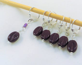 Coffee Beans - removable stitch markers for crochet or knitting - set of 6