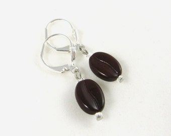 Dark brown glossy coffee bean earrings with silver plated lever back ear wires
