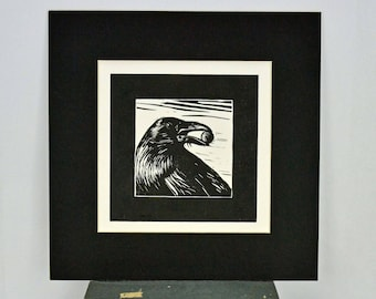 Original Linocut Print Black Crow