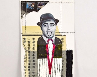Mixed Media Textile Collage - Louie