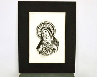"Original Dry Point Etching ""Sacred Heart of Mary"""