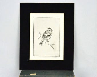 "Original Dry Point Etching ""Chipping Sparrow"""