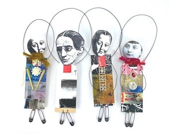 Mixed Media Collage Art Dolls
