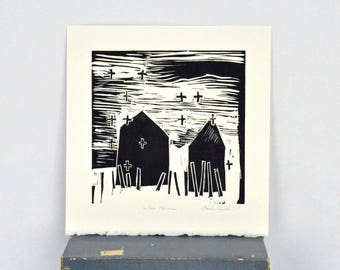Original Linocut Print Two Houses