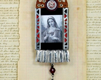 Mixed Media Assemblage - Sacred Heart of Mary