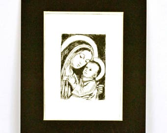"Original Dry Point Etching ""Mary and Christ"""