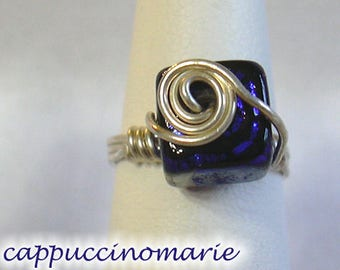 Blue dichroic glass cube - Sterling silver wire wrap ring Size 7