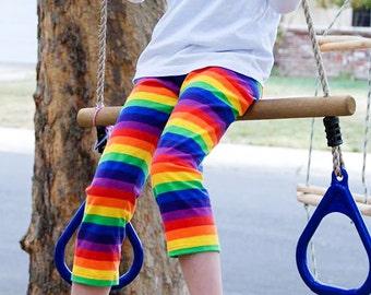 58bbb57222595 Rad Rainbow striped leggings, capri or pant length option, cotton w/stretch