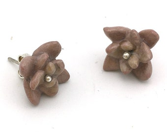 Dusty Purple Porcelain Succulent Stud Earrings